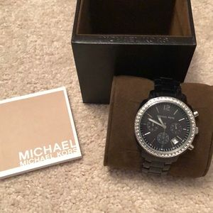 BLACK MICHAEL KORS WATCH WITH CRYSTALS & SILVER